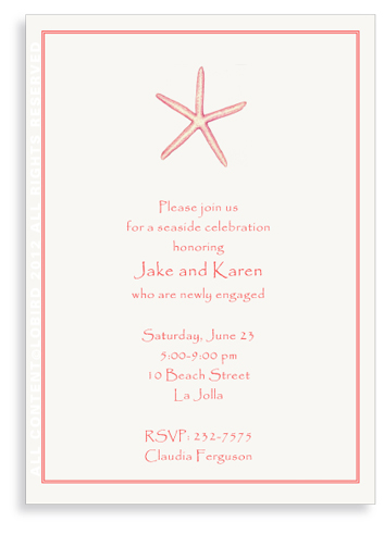 Starfish - Coral- Invitations