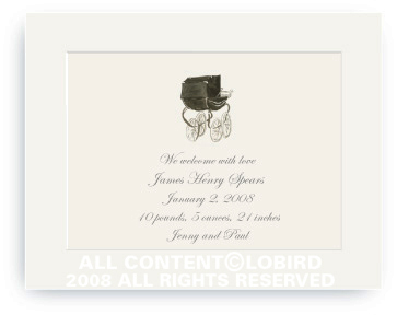 Heritage Black Pram - Baby Announcements