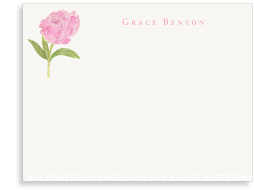 Pink Peony - Flat Note cards