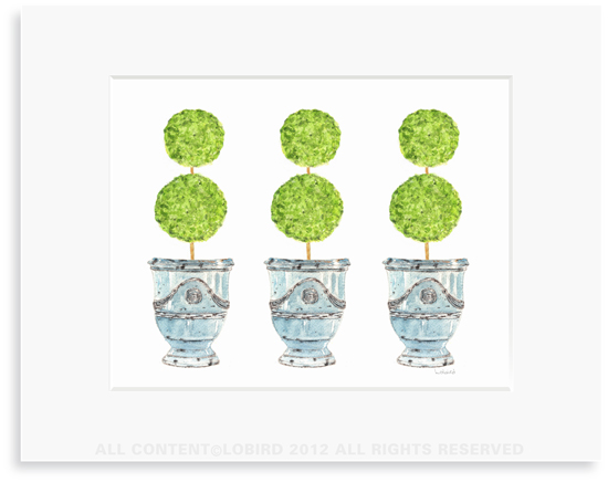 Trio of Turquosie  Anduze Pots with Topiaries - 8 x 10 Print in 11 x 14 Mat