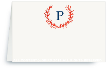Coral Monogram Crest- Place Cards