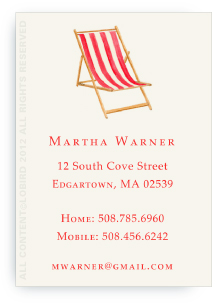 Beach Chair - Red -Calling cards
