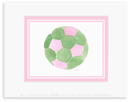 Soccer ball-Pink/Green - 8 x 10 Print in 11 x 14 Mat
