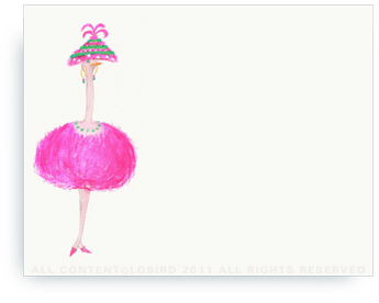 "Pink Ostrich - Lulu - Non-Personalized Note Cards (4.25"" X 5.5"")"