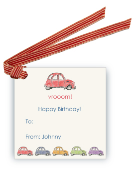 French Village Car (Red) - Gift Tags