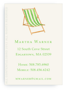 Beach Chair - Green -Calling Cards