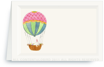 Hot Air Balloon with Easter Rabbit - Place Cards