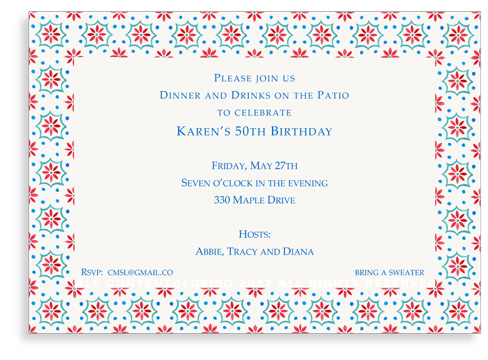 Talavera Tile - Red/Turquoise - Invitations