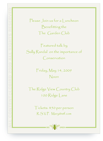 Bee Green 2 - Invitations