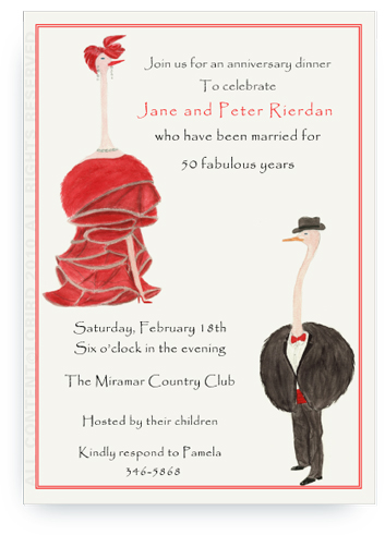 Ostrich in Red Gown - Audrey - Invitations