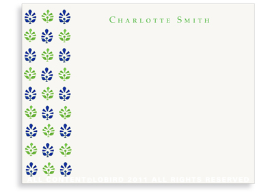 Block Print Tapestry - Midnight Blue/Green - Flat Note cards