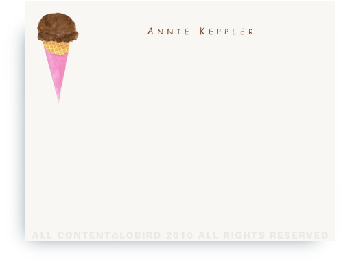 Chocolate Ice Cream Cone - Flat Note cards