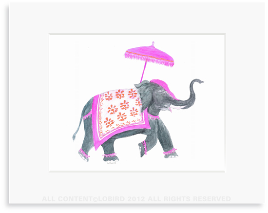 Festive Elephant � Fuchsia/Orange - 8 x 10 Print in 11 x 14 Mat