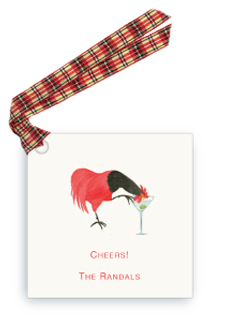 Rooster Drinking Martini - Gift Tags
