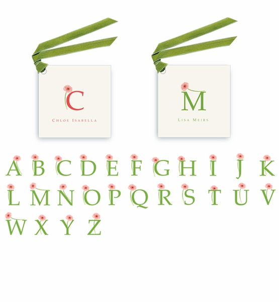 Gerber Daisey Monogram - Gift Tags