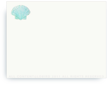"Aqua Scallop Sea Shell - Non-Personalized Note Cards (4.25"" X 5.5"")"