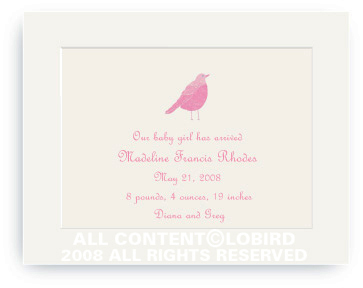 Pink Song Bird - Baby Announcements