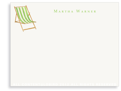 Beach Chair - Green - Flat Note Cards