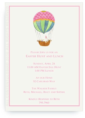 Hot Air Balloon with Easter Rabbit - Invitations