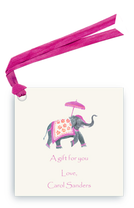 Festive Elephant - Fuchsia/Orange - Gift Tags