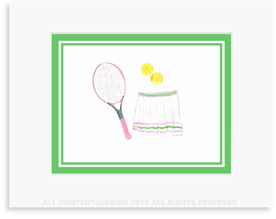 Pink Tennis Racket and Skirt - 8 x 10 Print in 11 x 14 Mat