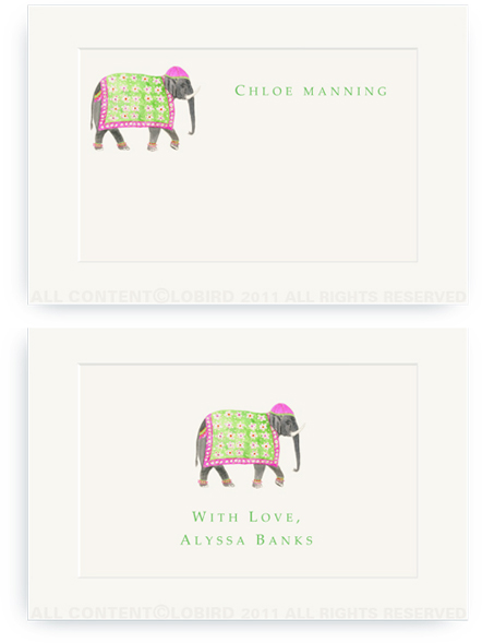 Festive Elephant with Floral Tapestry - Fuchsia - Enclosure Cards