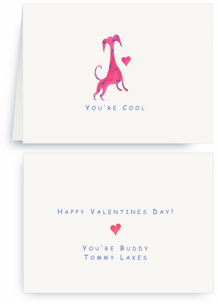 Red Dog Blue Sports with Heart - Valentines Card