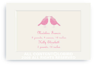 Twin Pink Song Birds - Enclosure Cards