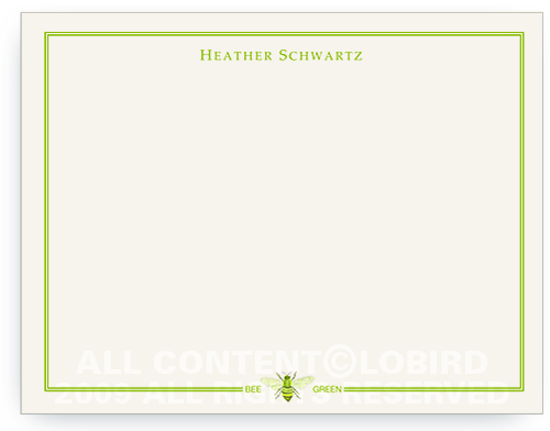 Bee Green with Border - Note Cards