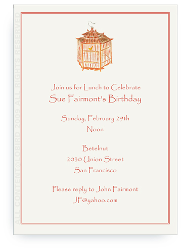 Pagoda Red Bird Cage - Invitations