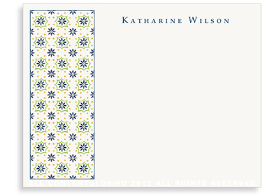 Talavera Tile - Navy/Green - Flat Note Cards