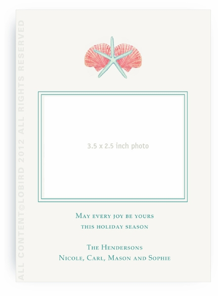 Aqua Green Scallop Sea Shell - holiday card-portrait flat