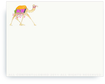 "Festive Camel - Fuschia - Non-Personalized Note Cards (4.25"" X 5.5"")"