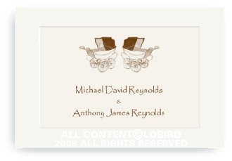 Twin Vintage Brown Baby Carriages - Enclosure Cards