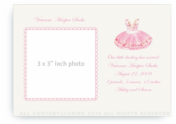 Sugar Plum Ballet Dress - Baby Announcements