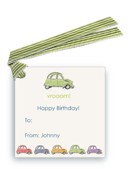 French Village Car (Lime Green) - Gift Tags