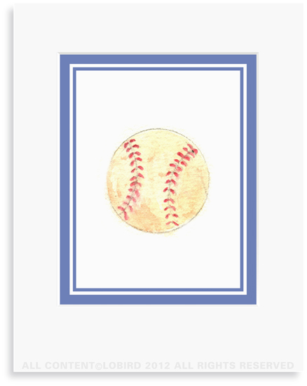 Baseball - 8 x 10 Print in 11 x 14 Mat