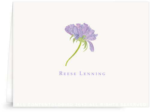 Purple Pincusion - Folded Note Card