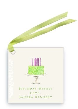 Beaded Birthday Cake - Spring Green - Gift Tags