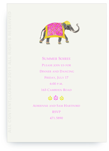 Festive Elephant with Bead Tapestry - Fuchsia - Invitations