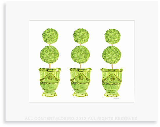 Trio of Green Anduze Pots with Topiaries- 8 x 10 Print in 11 x 14 Mat