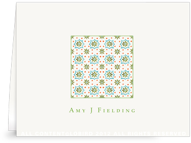 Talavera Tile -green-  turquoise Folded Note Cards