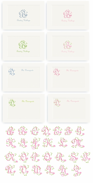 French Vine Monogram - Enclosure Cards