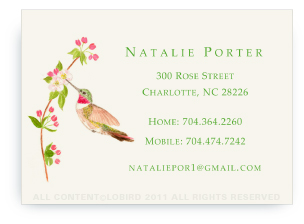 Ruby Throated Hummingbird - Apple Blossom - Calling Cards