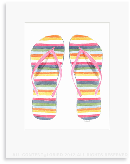 Striped Flip Flops - 8 x 10 Print in 11 x 14 Mat