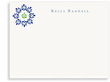 Block Print Flower - Midnight Blue/Green - Flat Note cards