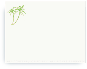 "Twin Green Palms - Non-Personalized Note Cards (4.25"" X 5.5"")"