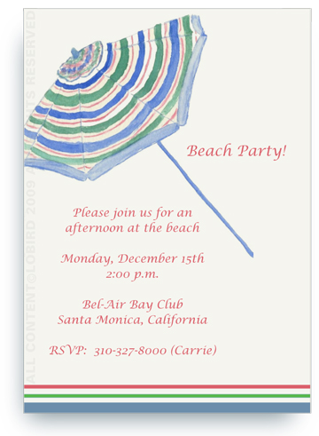 Beach Umbrella - Invitations