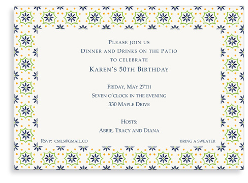 Talavera Tile - Blue - Green - Invitations