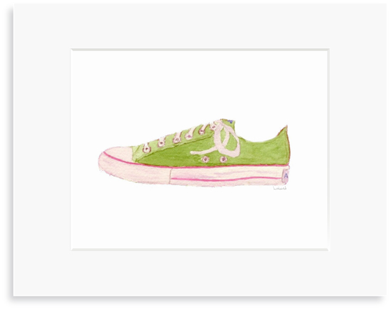 Green Sneaker - 8 x 10 Print in 11 x 14 Mat